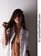 beauty woman posing topless in white shirt - Sexy woman...