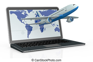 online travel booking - one notebook with an airplane that...