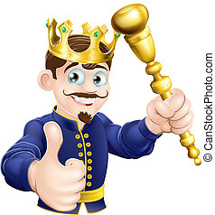 Cartoon King - Illustration of a happy cartoon king holding...