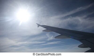 Wing Of Airplane, flying