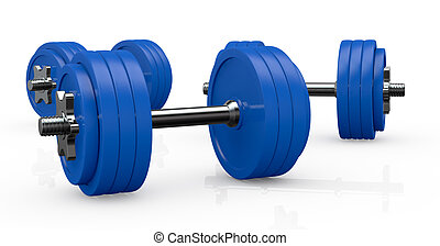 dumbbells - three blue dumbbells with many plates 3d render...
