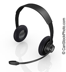 headset - top view of one black headset (3d render)