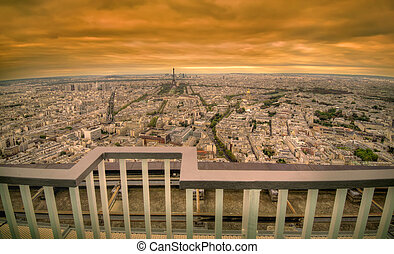 Paris dark sunset scene - paris golden sunset panoramic...
