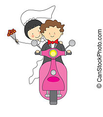 wedding invitation. Just married by motorcycle