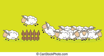 Sheep jumping a fence - Stickers childrens room Sheep...