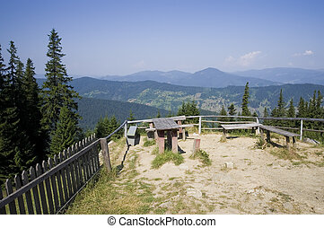 resting place in mountain - summer landscape in Romanian...