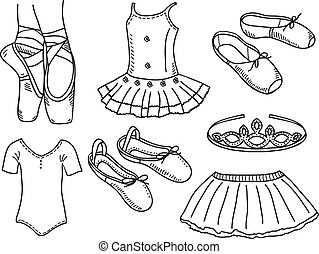 Set of ballerina accessories - hand drawn illustration