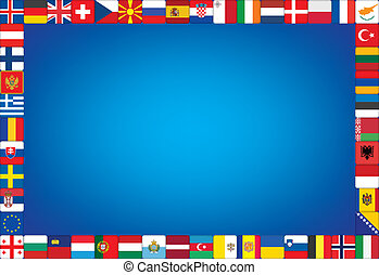background with frame made of flags - blue background with...