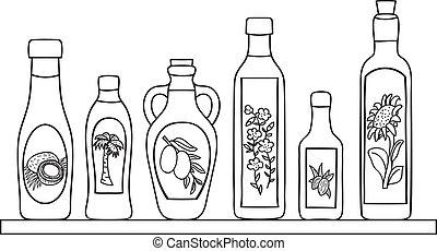 Set of natural oils in bottles - hand drawn illustration