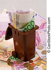 cajón, dinero, basura