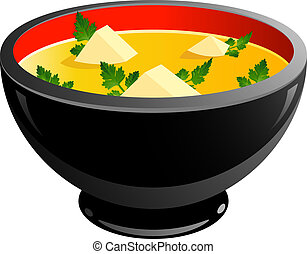 Bowl of soup over white EPS 10, AI, JPEG