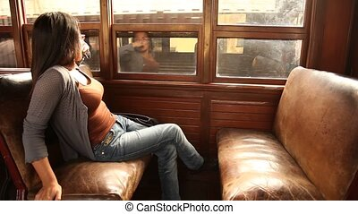 Woman in Old Train - Historical Train, Lima, Barranco