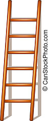 Wooden ladder with shadow on white background