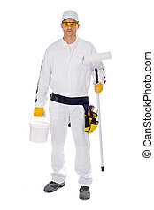 worker in white overalls holding paint brush bucket on a white background