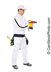 worker in white overalls with a red drill hole drilling on a white background