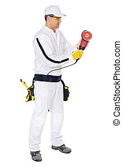 worker in white overalls with cut angle Grinder on a white background