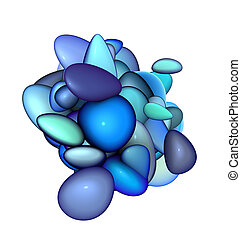 3d blue purple abstract glossy blob render