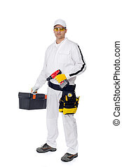construction worker in white coveralls with a tool box screw driver and other repairing tools on white background