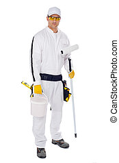 painter in white overalls holding paint brush bucket on a white background