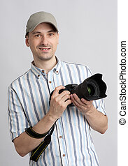 Man holding professional camera