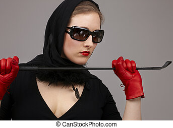 lady in red gloves with crop #2 - portrait of lady in black...