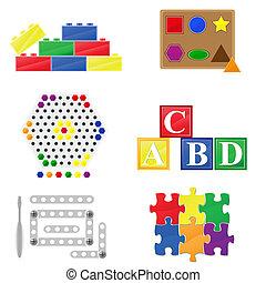 icons educational toys for children vector illustration