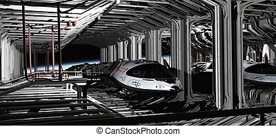 Space Shuttle Hanger - Science fiction illustration of...