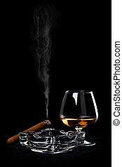 snifter, verre, cognac, cigare