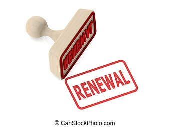 Wooden stamp with renewal word - Rendered artwork with white...