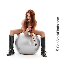 silver ball rider - wild redhead in boots with crop on...