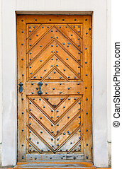 Old wooden door - Old wooden church door in Prague
