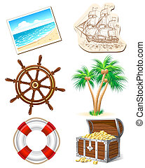 Set of icons for sea travel - Set of six icons for sea...