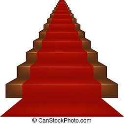 Stairs covered with red carpet on white background