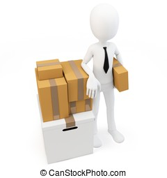 3d man businessman with moving boxes on white background