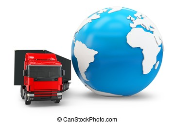 3d truck transportation with globe