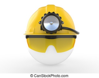 Worker with helmet and head lamp 3D illustration