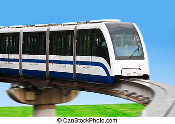 High Speed Monorail Train in a landscape