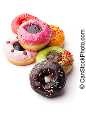 Glazed donuts - Group of glazed donuts, isolated on white...