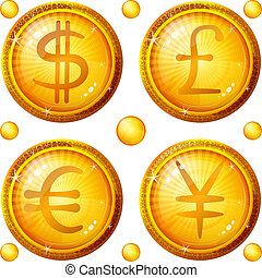 Buttons with currency signs, set - Golden money buttons...