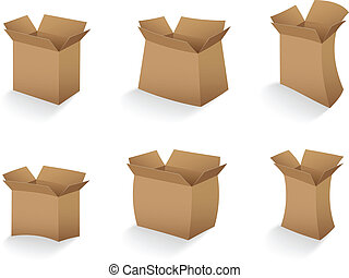 set of open empty cardboard box
