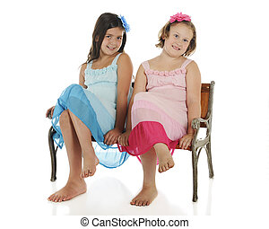 Girl Buddies - Two happy elementary girl friends in...