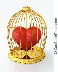 Heart in golden cage - 3D render of heart trapped in golden...