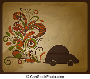 vector eco concept composition with a car and floral exhaust...