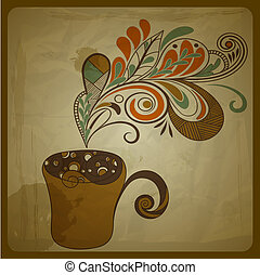 vector retro concept composition with stylized cup of coffee on crumpled paper texture