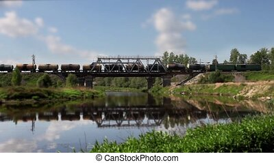 freight train time lapse - freight train on the bridge time...