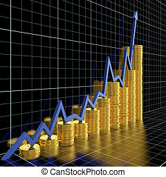 Business graph moving up and showing money earning