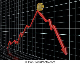 Money loss - Business graph with red arrow which shows money...