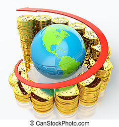 Growing dollar - Growing stack of golden coins with earth in...