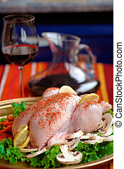 raw chicken wings with carrots vegetables - whole raw...