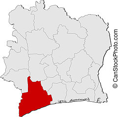 Map of Ivory Coast, Bas-Sassandra highlighted